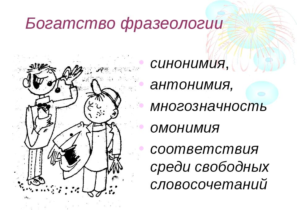 Богатство фразеологии синонимия, антонимия, многозначность омонимия соответст...