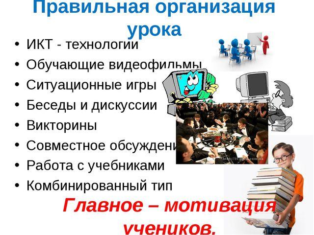 Правильная организация урока ИКТ - технологии Обучающие видеофильмы Ситуацион...