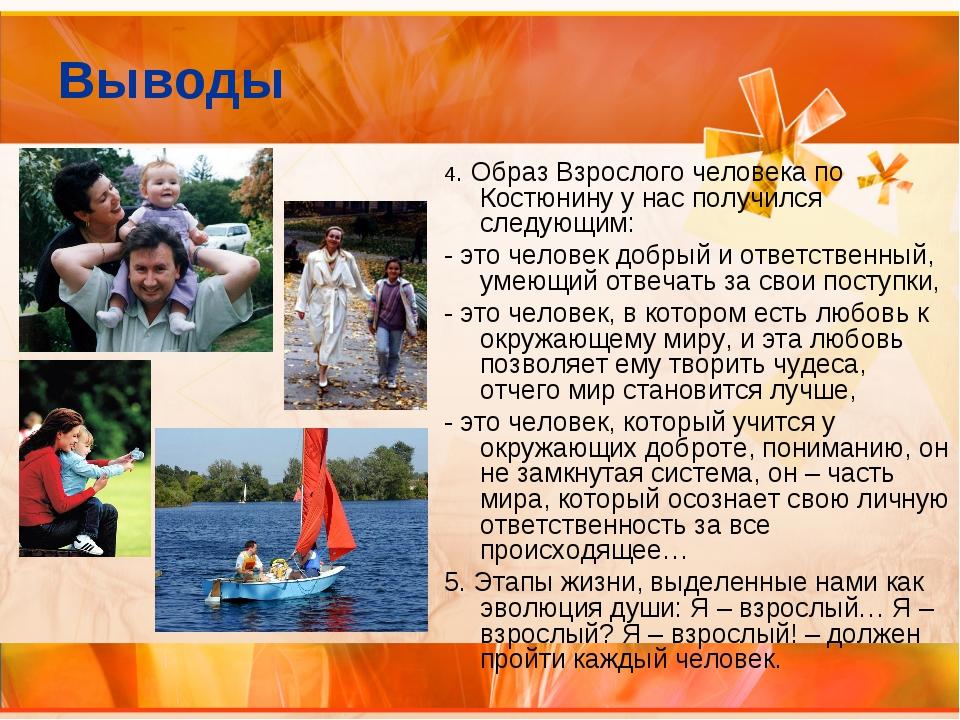 Выводы 4. Образ Взрослого человека по Костюнину у нас получился следующим: -...
