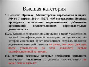 Высшая категория Согласно Приказу Министерства образования и науки РФ от 7 ап