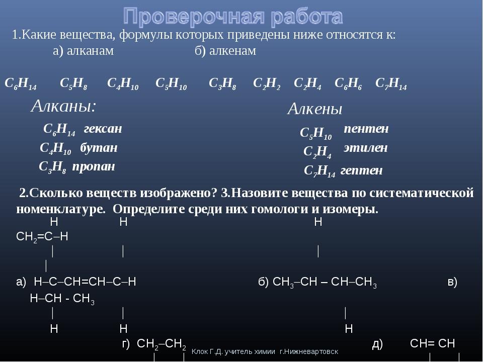Клок Г.Д. учитель химии г.Нижневартовск 1.Какие вещества, формулы которых при...