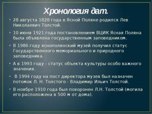 Хронология дат. 28 августа 1828 года в Ясной Поляне родился Лев Николаевич То
