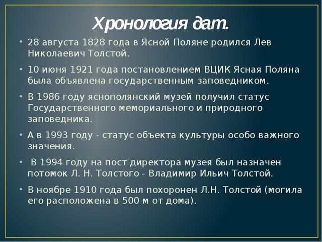 Хронология дат. 28 августа 1828 года в Ясной Поляне родился Лев Николаевич То...