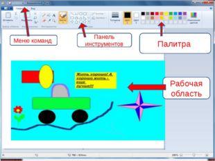 Панель инструментов Меню команд Палитра Рабочая область