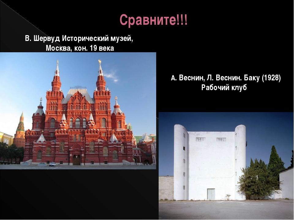 Сравните!!! В. Шервуд Исторический музей, Москва, кон. 19 века А. Веснин, Л....