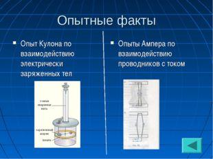 Опытные факты Опыт Кулона по взаимодействию электрически заряженных тел Опыты