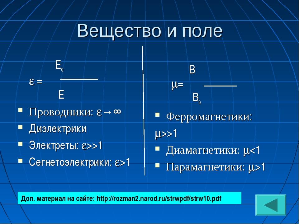 Вещество и поле Ео  = Е Проводники: →∞ Диэлектрики Электреты: >>1 Сегнетоэ...