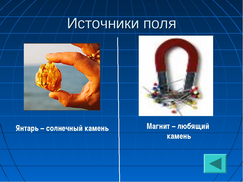 Источники поля Янтарь – солнечный камень Магнит – любящий камень