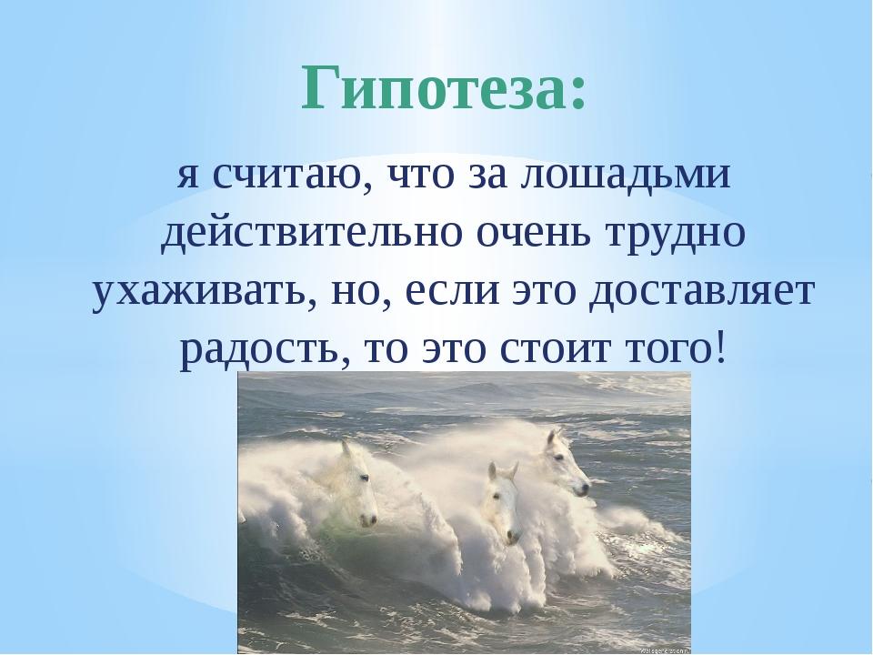 я считаю, что за лошадьми действительно очень трудно ухаживать, но, если это...