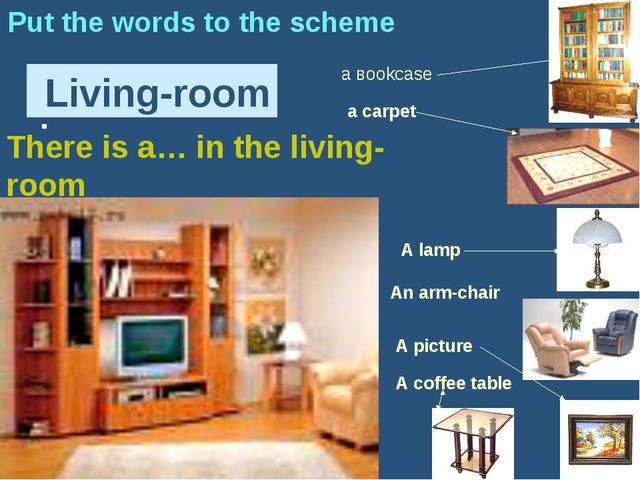 : Living-room Put the words to the scheme а вookcase A picture a carpet A lam...