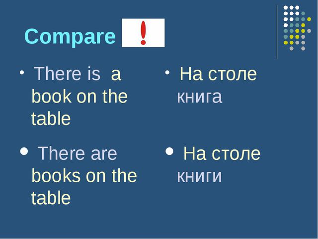 Compare There is a book on the table На столе книга There are books on the t...