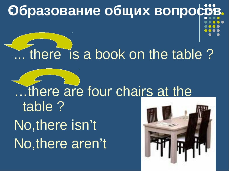 : ... there is a book on the table ? …there are four chairs at the table ? No...