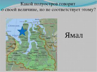 Какой полуостров говорит о своей величине, но не соответствует этому? Ямал