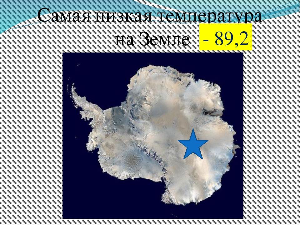 Самая низкая температура на Земле - 89,2