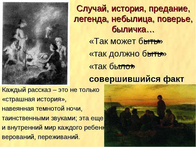Случай, история, предание, легенда, небылица, поверье, быличка… «Так может бы...