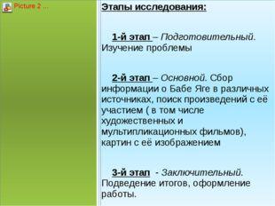Этапы исследования:  1-й этап – Подготовительный. Изучение проблемы  2-й э