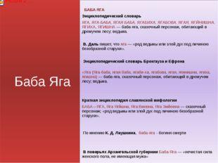 Баба Яга БАБА ЯГА Энциклопедический словарь ЯГА, ЯГА-БАБА, ЯГАЯ БАБА, ЯГАБИХА