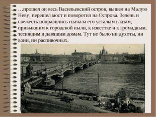 …прошел он весь Васильевский остров, вышел на Малую Неву, перешел мост и пово