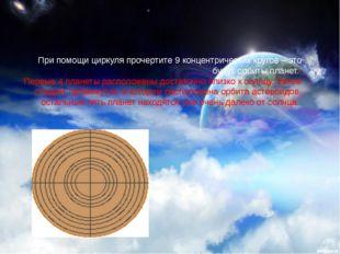 При помощи циркуля прочертите 9 концентрических кругов – это будут орбиты пла