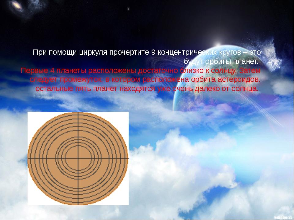 При помощи циркуля прочертите 9 концентрических кругов – это будут орбиты пла...