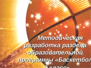 Методическая разработка раздела образовательной программы «Баскетбол - 9 кла