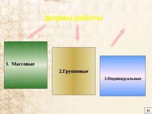 Массовые 2.Групповые 3.Индивидуальные 11 формы работы