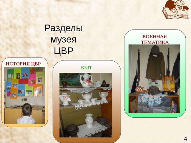 Разделы музея ЦВР 3 ВОЕННАЯ ТЕМАТИКА ИСТОРИЯ ЦВР БЫТ 4