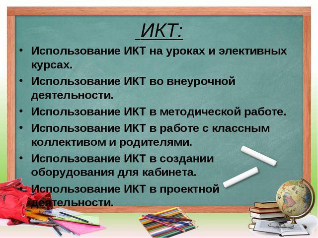 ИКТ: Использование ИКТ на уроках и элективных курсах. Использование ИКТ во в...