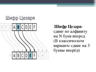 Шифр Цезаря Шифр Цезаря- сдвиг по алфавиту на N букв вперед (В классическом в