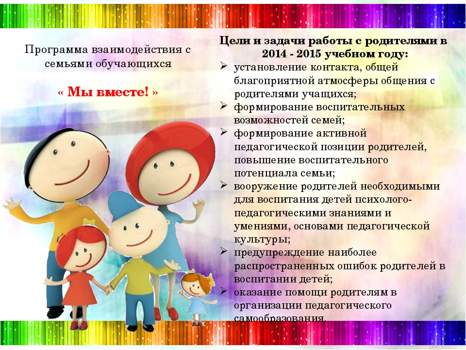 Цели и задачи работы с родителями в 2014 - 2015 учебном году: установление к...