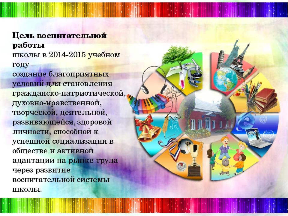 Цель воспитательной работы школы в 2014-2015 учебном году – создание благопр...