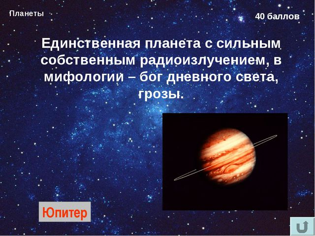 Планеты 40 баллов Единственная планета с сильным собственным радиоизлучением,...