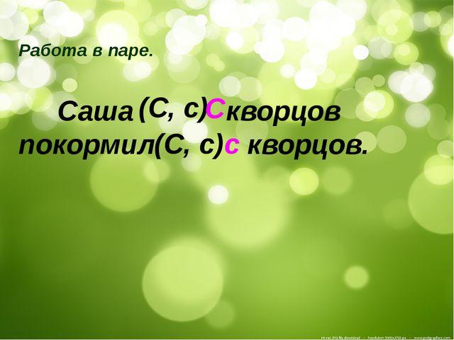 Работа в паре. Саша кворцов покормил кворцов. (С, с) с (С, с) С
