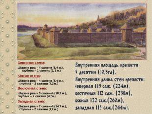 Северная стена: Ширина рва – 4 сажени (8,4 м.), глубина – 1 сажень (2,1 м.) Ю