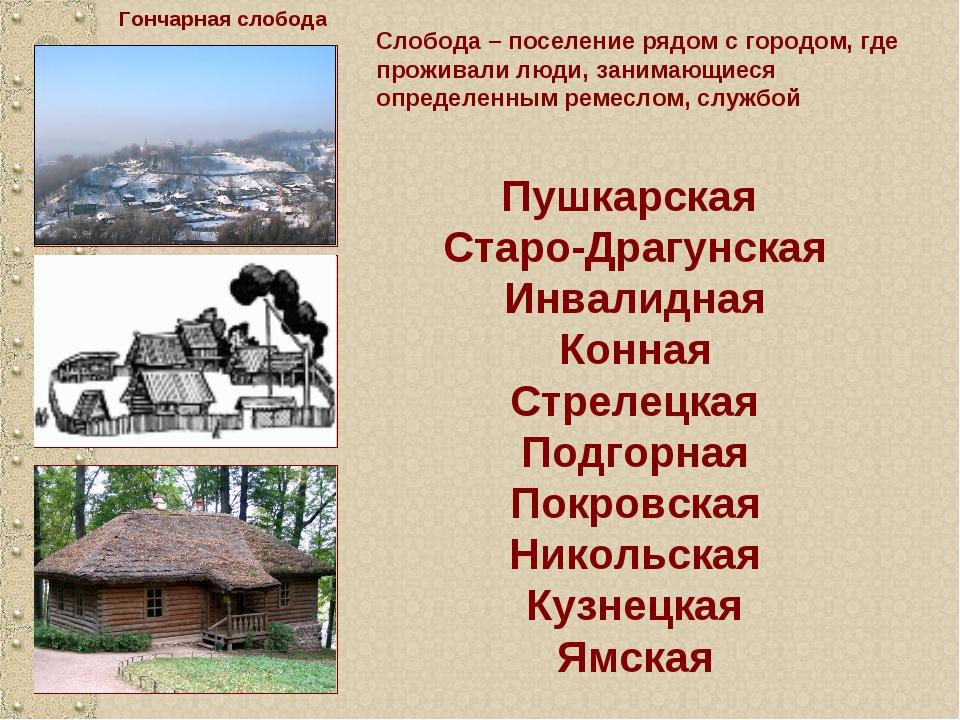Слобода – поселение рядом с городом, где проживали люди, занимающиеся определ...