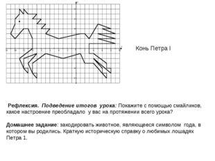 Конь Петра I Рефлексия. Подведение итогов урока: Покажите с помощью смайликов