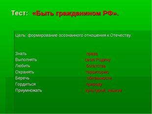 Тест: «Быть гражданином РФ». Цель: формирование осознанного отношения к Отеч