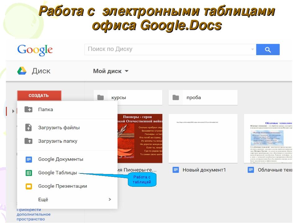 Работа с электронными таблицами офиса Google.Docs Работа с таблицей
