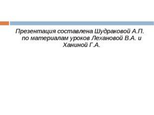 Презентация составлена Шудраковой А.П. по материалам уроков Лехановой В.А. и