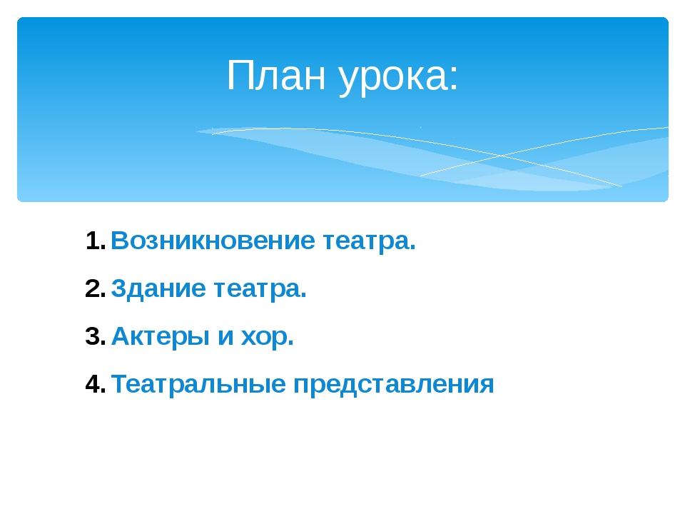 План урока: Возникновение театра. Здание театра. Актеры и хор. Театральные пр...