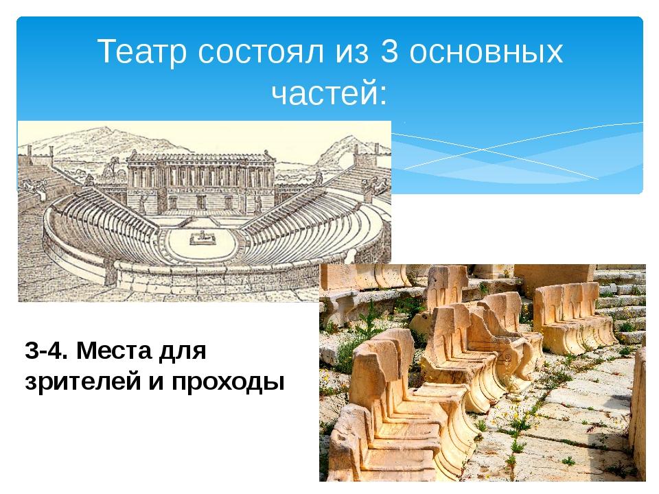 Театр состоял из 3 основных частей: 3-4. Места для зрителей и проходы