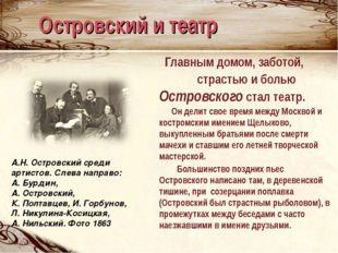 Островский и театр Главным домом, заботой, страстью и болью Островского стал
