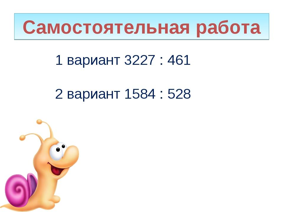 Самостоятельная работа 1 вариант 3227 : 461 2 вариант 1584 : 528