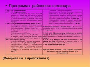 Программа районного семинара (Материал см. в приложении 2)