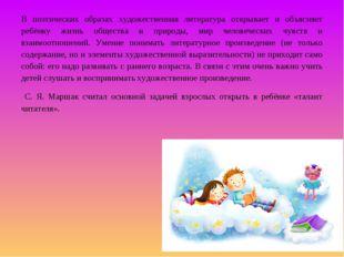 В поэтических образах художественная литература открывает и объясняет ребёнку