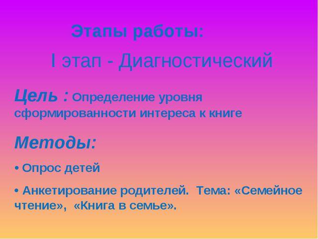 Цель : Определение уровня сформированности интереса к книге Методы: • Опрос д...
