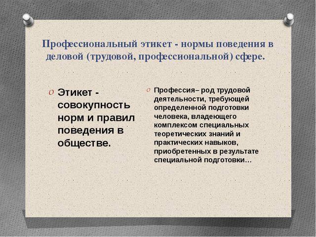 Профессиональный этикет - нормы поведения в деловой (трудовой, профессиональн...
