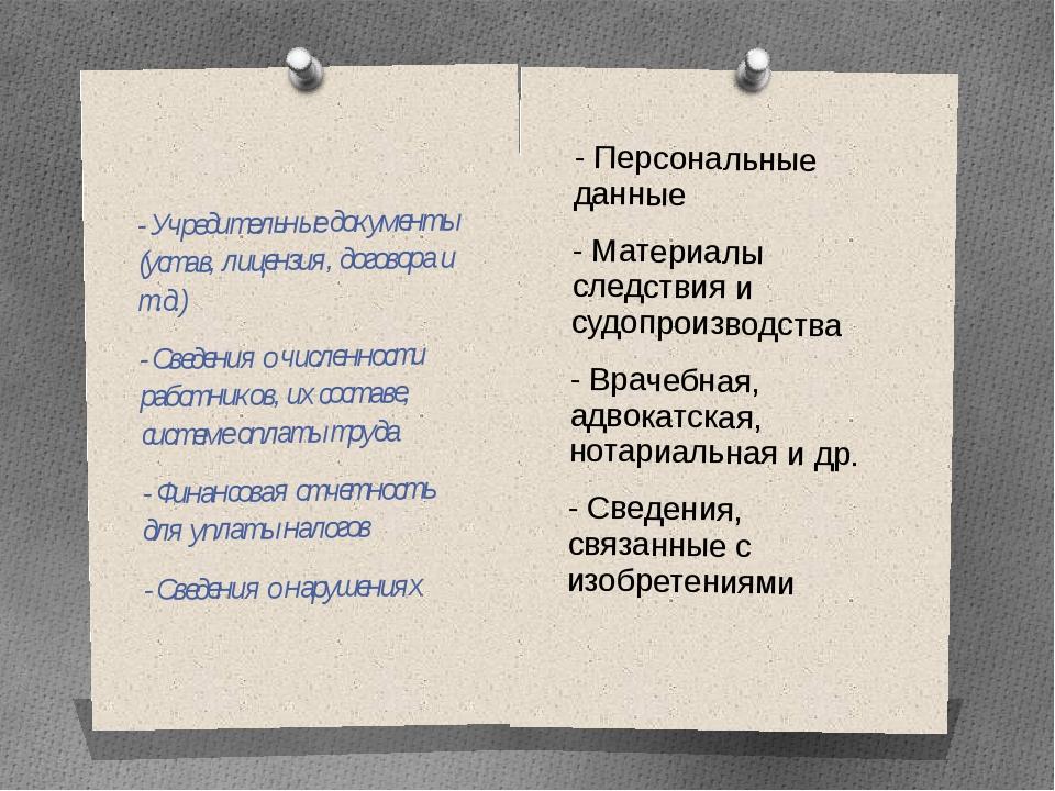- Персональные данные - Материалы следствия и судопроизводства - Врачебная,...