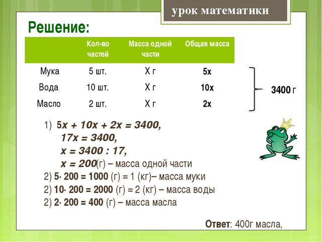 Решение: урок математики 1) 5х + 10х + 2х = 3400, 17х = 3400, х = 3400 : 17,...