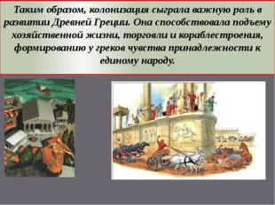 Таким образом, колонизация сыграла важную роль в развитии Древней Греции. Она